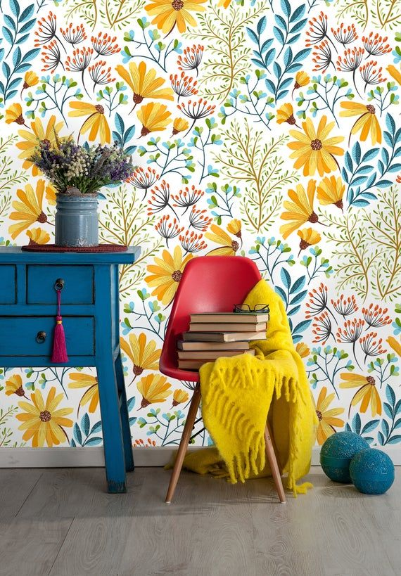 Removable Wallpaper Peel And Stick Leaves Wallpaper Self Etsy Leaf Wallpaper Removable Wallpaper Wallpaper