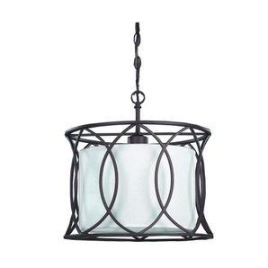 Luminaire suspendu à 1 lampe avec abat-jour en tissus, bronze huilé