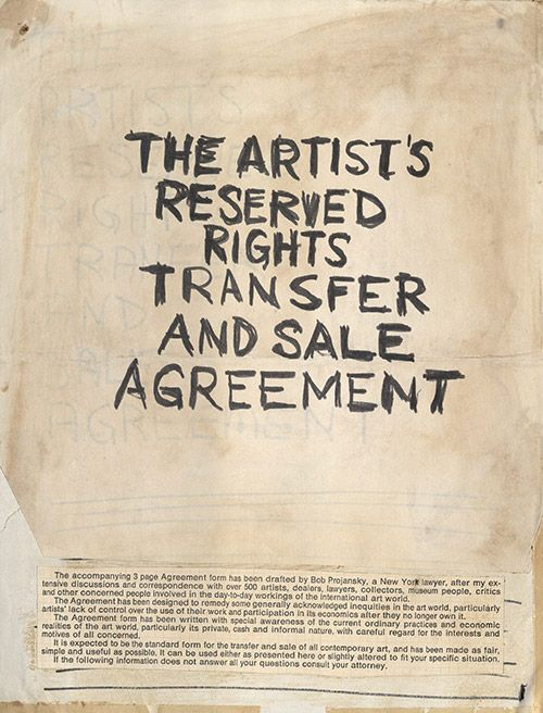 Seth Siegelaub. Mock-up draft of the Artist's Contract in English c. 1971