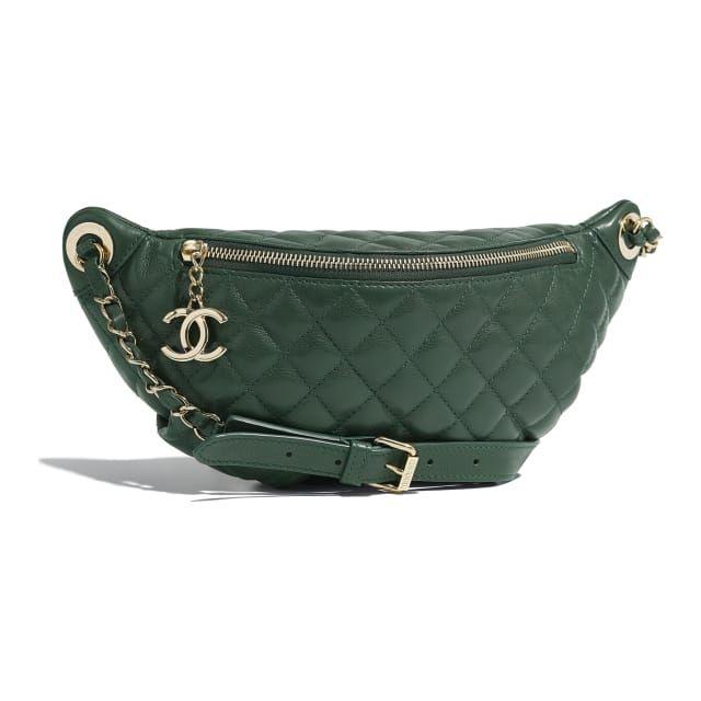 Calfskin Gold Tone Metal Green Waist Bag Chanel Bags Chanel Handbags Waist Bag