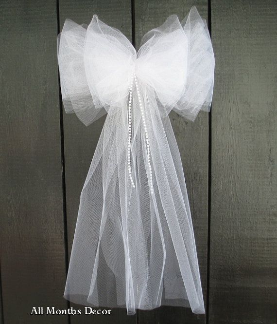 Tulle Bow with Pearls Wedding Engagement bridal by AllMonthsDecor