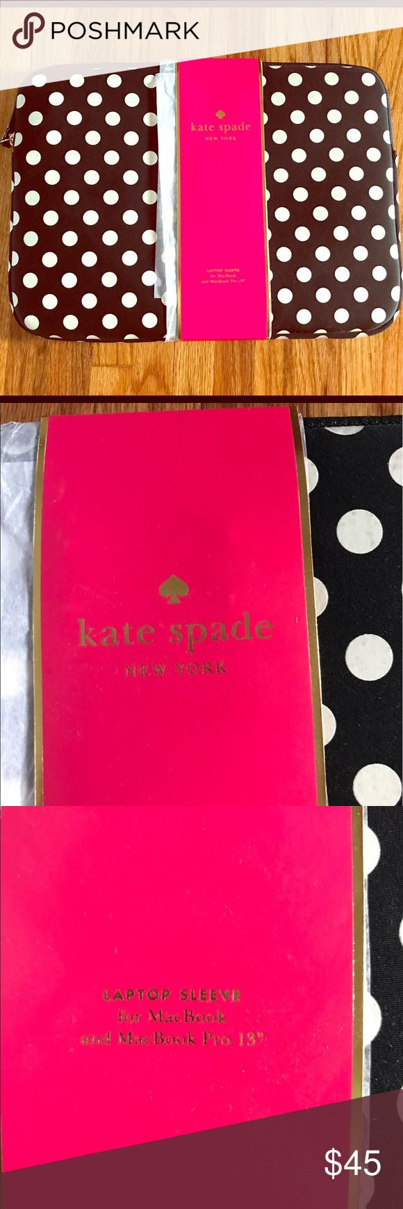 Kate Spade laptop sleeve Brand new and super cute! Black with white polka dots, red interior. Neoprene laptop sleeve for Mac Book and Mac Book Pro. kate spade Accessories Laptop Cases