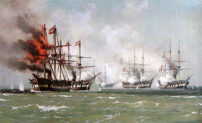 Den danske nordsøeskadre under slaget ved Helgoland 1864. Det østrigske flagskib 'Schwartzenberg' er skudt i brand. Maleri af Johan Carl Neumann 1864.