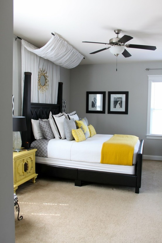 Color scheme for master bedroom at the lake house already have black curtains and linen headboard