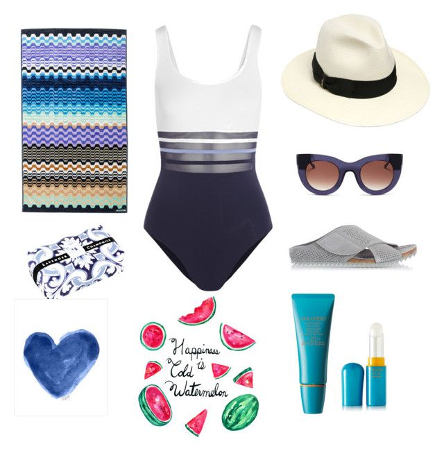 Watermelon on the beach ** by sheiscarla on Polyvore featuring polyvore, fashion, style, La Perla, Borsalino, Thierry Lasry, Shiseido, Fratelli Karida, Missoni Home, women's clothing, women's fashion, women, female, woman, misses and juniors