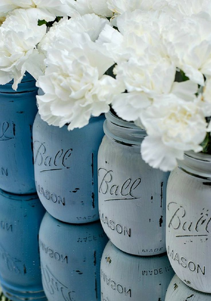 Ombre Mason Jars Painted Mason Jars Distressed Mason Jars