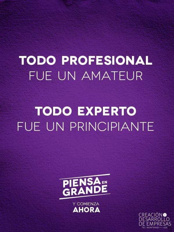 Todo profesional fue un amateur. Todo experto fue un principiante.