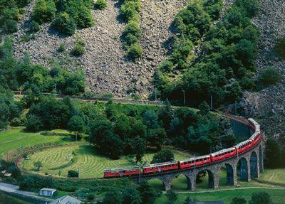 Take the Bernina Express from Chur, Switzerland to Tirano, Italy