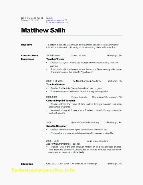 73 Elegant Gallery Of Resume Examples For Physical Education