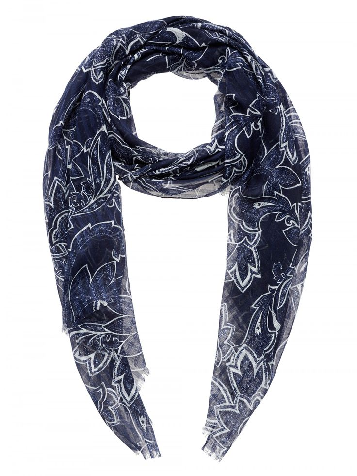 Navy Luxe Paisley Scarf
