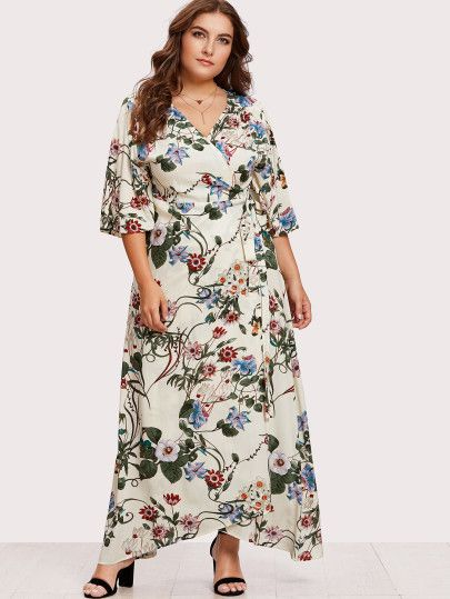 489701d850 Kimono Sleeve Surplice Wrap Botanical Dress -SheIn(Sheinside ...