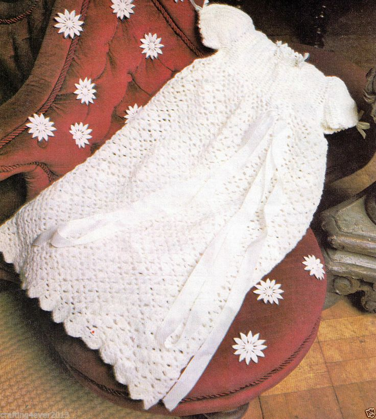 VINTAGE CHRISTENING GOWN WITH LONG LACY SKIRT AND FRILLS AROUND NECK AND SLEEVES SIZE 46 - 51 CM'S 4 PLY? CROCHET PATTERN