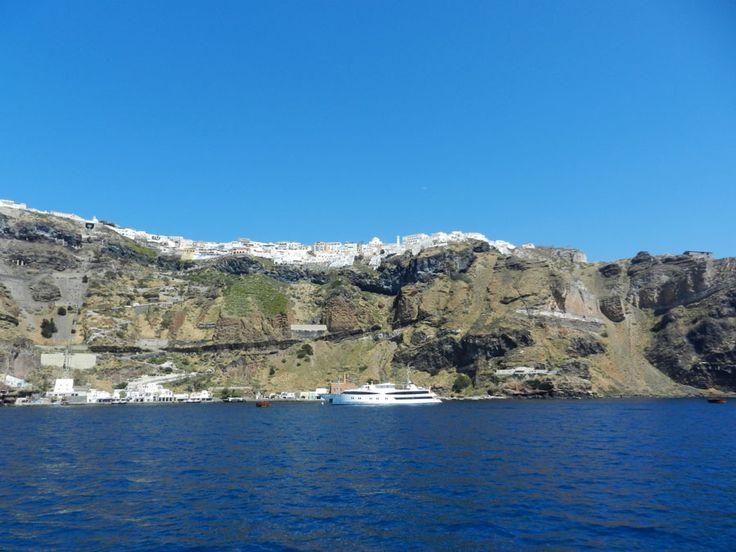 Fira, Santorini, Greece - A View from The Caldera.  #travel, #destination, #Santorini, #Greece http://travellingwizards.com/destinations/countries/greece/islands/santorini