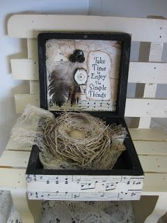 Nest Box, an order for someone.   inside nest box.  close-up of inside lid.    Framed Friends Collage, another order.  And a second Fr...