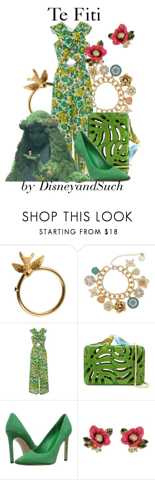 """Te Fiti"" by disneyandsuch ❤ liked on Polyvore featuring Roz Buehrlen, Erica Lyons, Alice McCall, Sarah's Bag, Nine West, Les Néréides, disney, disneybound, moana and WhereIsMySuperSuit"