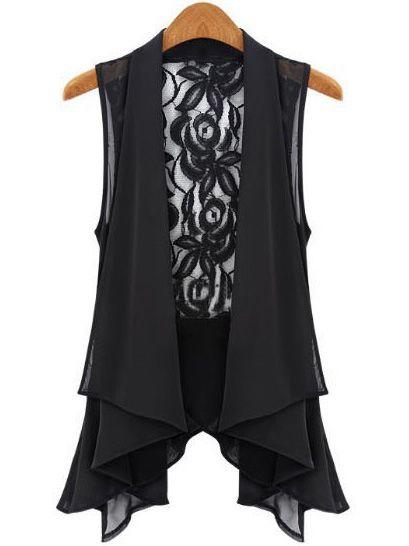 Black Sleeveless Lace Chiffon Vest - Sheinside.com