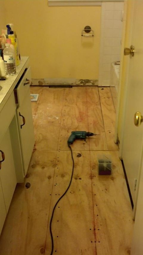 we began by replacing the subfloor once the old carpeting was removed