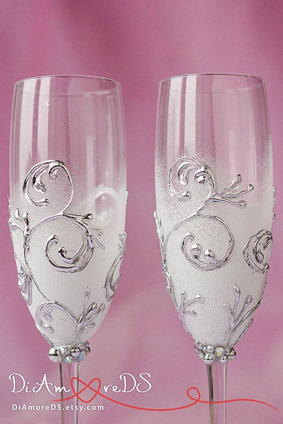 Winter wedding 3-D champagne flutes silver & white by DiAmoreDS