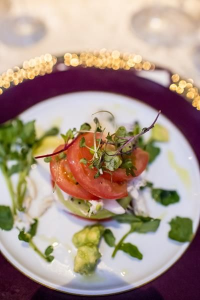 tomato salad stack first course starter, wolfgang puck catering from modern dc newseum wedding by Bellwether Events and Holly Chapple Flowers