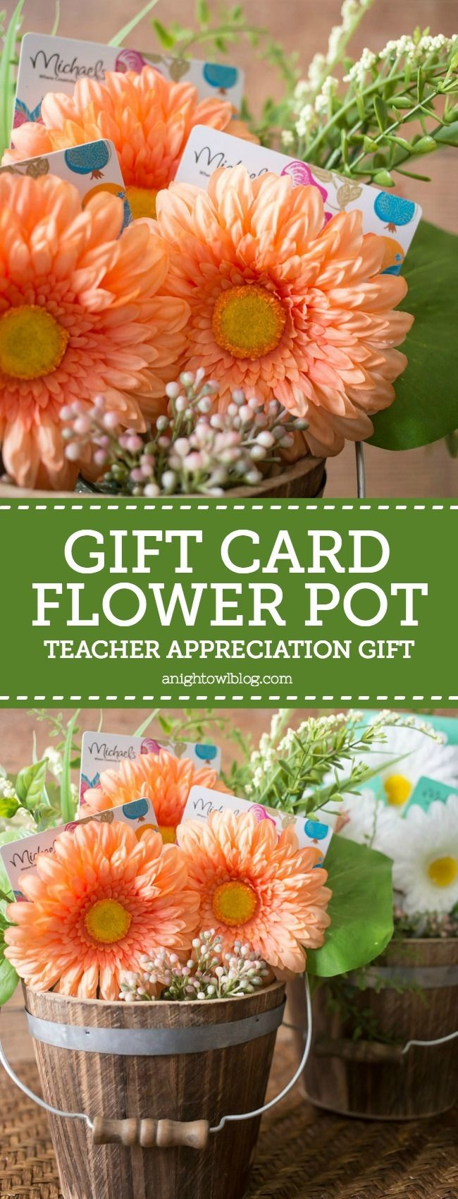 Looking for inspiration for your teacher's gifts this year? Head to Michaels Stores to get everything you need to make these Gift Card Flower Pot Teacher Appreciation Gifts! MichaelsMakers A Night Owl Blog
