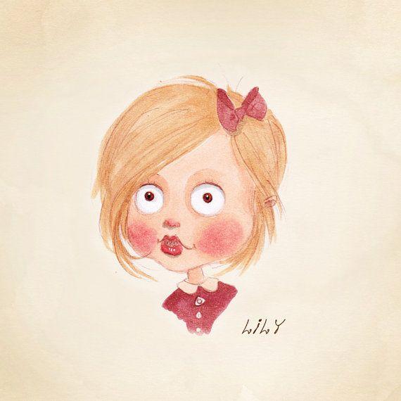 Childs Caricature Portrait. Custom Portrait. Whimsical Custom Illustration. Fine Art Print. Kids art. Birthday Present. Fairytale Character.