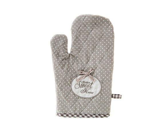 8,70 € - Guanto da Forno Home Sweet Home, stile Shabby Chic, realizzato in stoffa, simpatica idea per bomboniera matrimonio, cm. 28.
