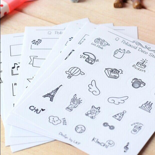 Kreatif PVC stiker Foto mini dekorasi Stiker Hitam dan putih pola anak DIY mainan 8 lembar/set