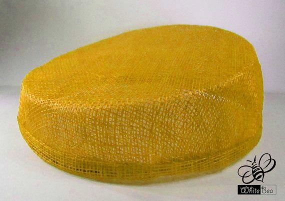 Sinamay Fascinator base  Pillbox shape  Yellow by WhiteBea on Etsy, $15.00