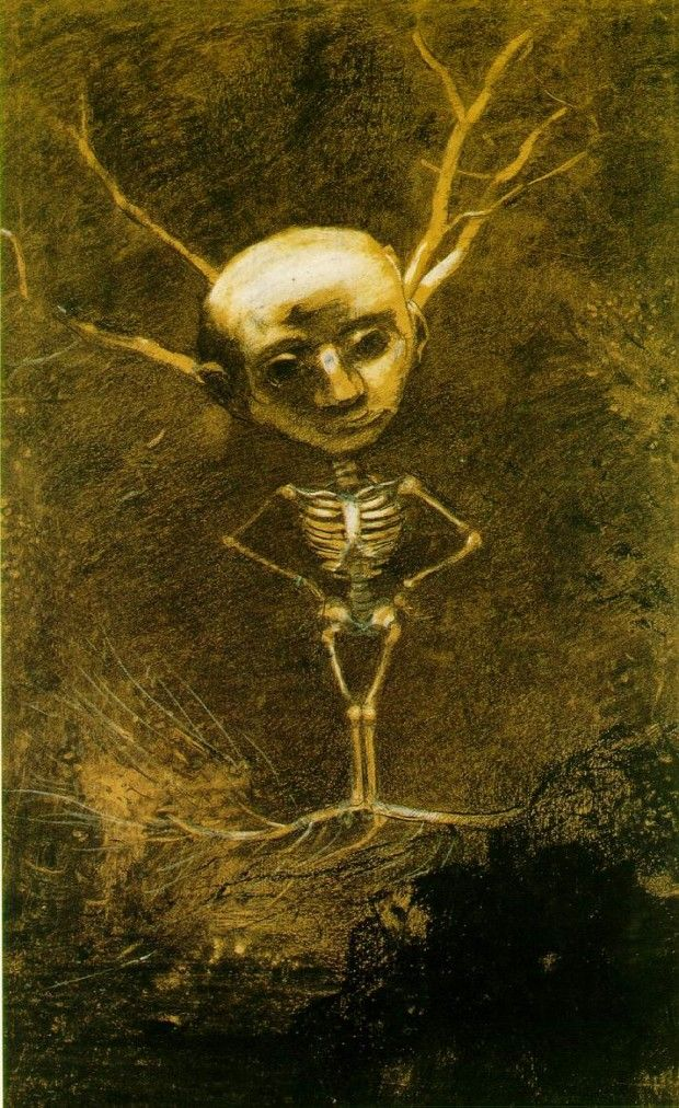 Odilon Redon, Spirit of the Forest (Specter from a Giant Tree) , 1880, The…