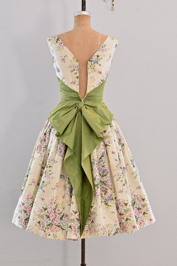 vestido vintage años 50 fiesta vestido floral por PickledVintage