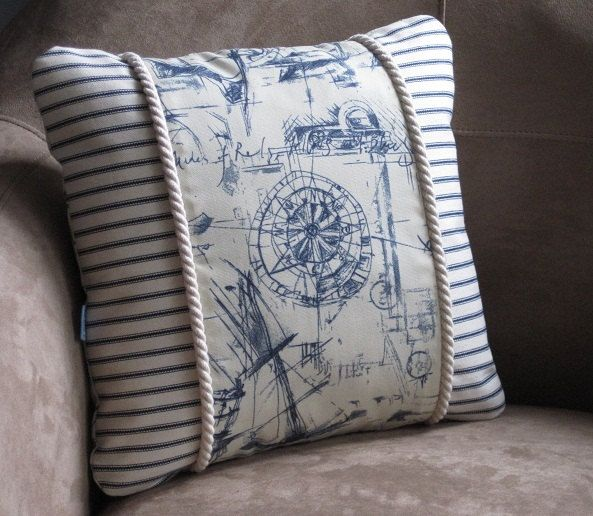 Blue Compass Nautical Pillow by Floatinteriors on Etsy, $30.00
