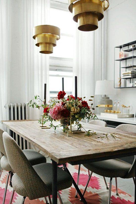 2014 Design Trend Brass Home Lighting Reclaimed Wood Dining TableWood