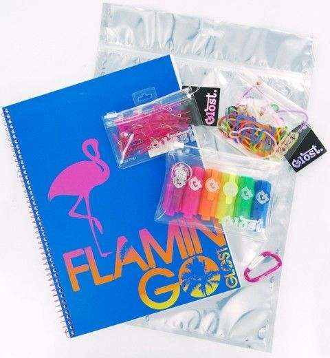This handy Glost A4 Pink Set includes a cool A4 Glost notebook, ABC-shaped multi-coloured elastic bands ('contrabands'), a six-pack of mini highlighters, 20 mini pink pegs, and a 'Glink' – a carabiner clip that comes with every Glost set to link to other Glost goodness! #glost #Micador #stationery #backtoschool