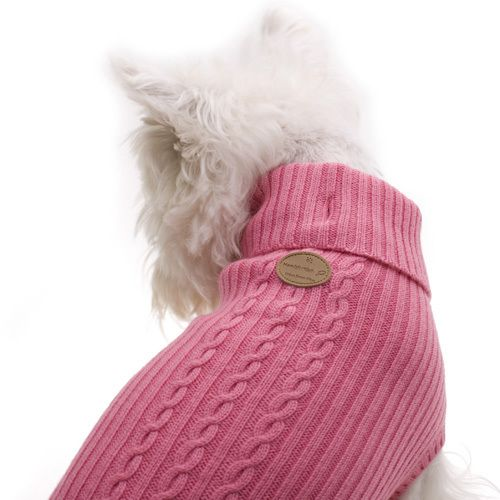 Pink Wool Dog Jumper - Woof Woof and Meow