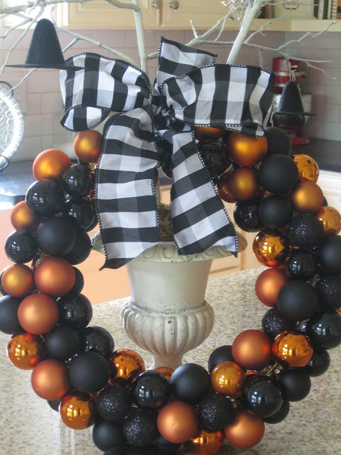 Classy Halloween Wreath with repainted Christmas ornaments