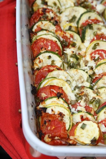 Tomato, Squash, and Feta GratinSide Dishes, Recipe, Food, Eating, Design Bags, Squashes, Tomatoes, Designer Bags, Feta Gratin