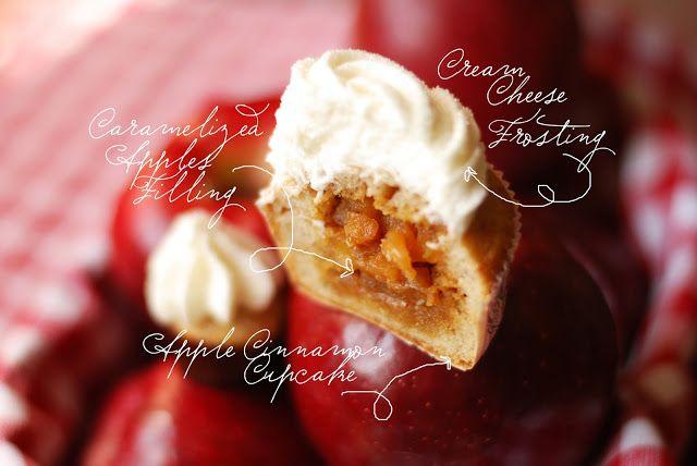 Яблочные капкейки с корицей и карамелью