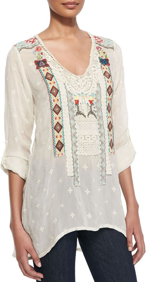 Johnny Was Tribal Patchwork Long-Sleeve Tunic, Women's on shopstyle.com