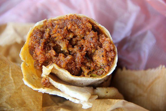 Soy chorizo burrito in Kandy