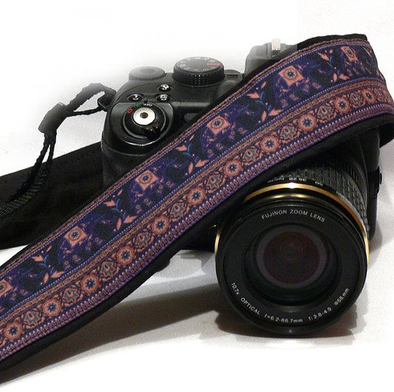 Lucky Elephants Camera Strap. dSLR Camera Strap. Canon, Nikon Camera Strap. Women Accessories