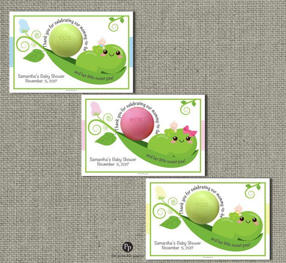 Thank you for viewing this adorable PRINTABLE Pea Pod / Sweet Pea(s) Baby Shower Favor Card/Tag for eos and eos type lip balm.  These fun Favor Tags will be a bit hit at your shower. They also make a nice keepsake for the mom-to-be! You will receive a high resolution 300 dpi PDF (2 cards per page) for easy printing at home or a local print shop.   CUSTOMIZING is easy! Just follow the steps below:  1. During checkout, include the following in message to seller --- Mom-to-bes first name…