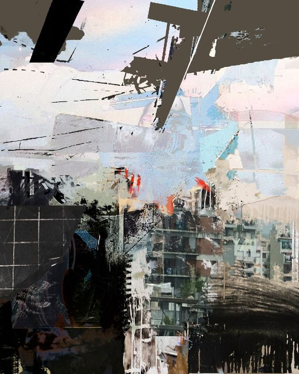 """Saatchi Online Artist: Serj Fedulov; Mixed Media, Painting """"From the series Urban Landscapes"""""""