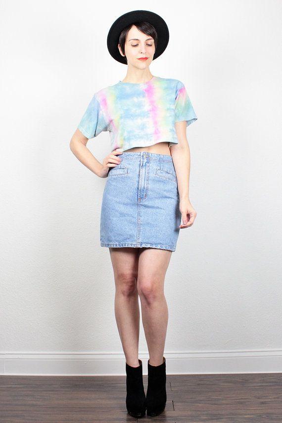 Vintage 80s Skirt Denim Mini Skirt Blue Jean Skirt 1980s ...