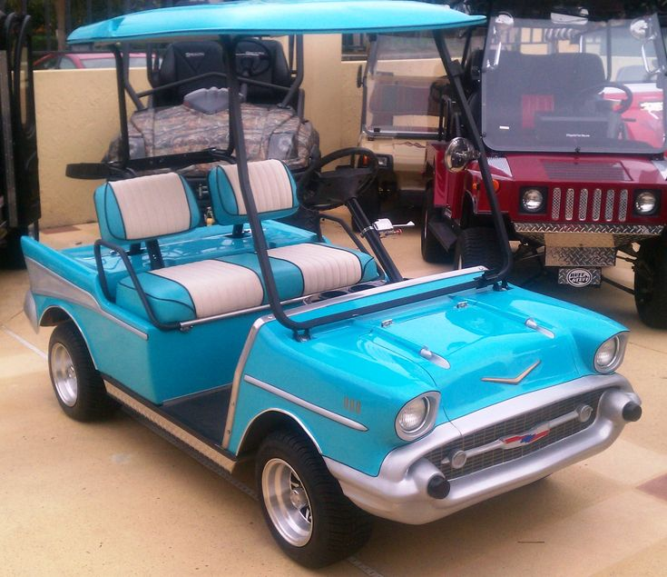 Golf Cart Body Kit - 57 Chevy      Accessory Kit Includes: Stainless Steel Trunk Lid Hinges, Trunk Lock, Headlights, Connectors, Tail                                   Light Lenses, Front Grille Bar, Bullets, Side Panel Fins, Decals Emblems*Front Opening Hood Cooler                                   Optional w/Hinges