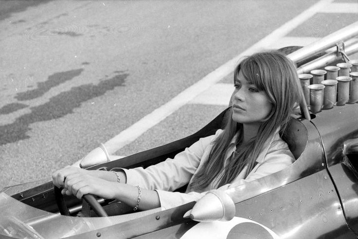 goodoldvalves:    If you know me for more than, say, a couple of hours, you probably already know that Françoise Hardy melts my heart faster than a bar of butter on an exhaust.  Having Hardy on the set of Grand Prix in 1966 must have been heaven. For a french pop singer, she sure seems surprisingly comfortable on the cockpit of Formula 1 cars (or Formula 2 in disguise, but shh, don't tell.)  Thank you, Frankenheimer.
