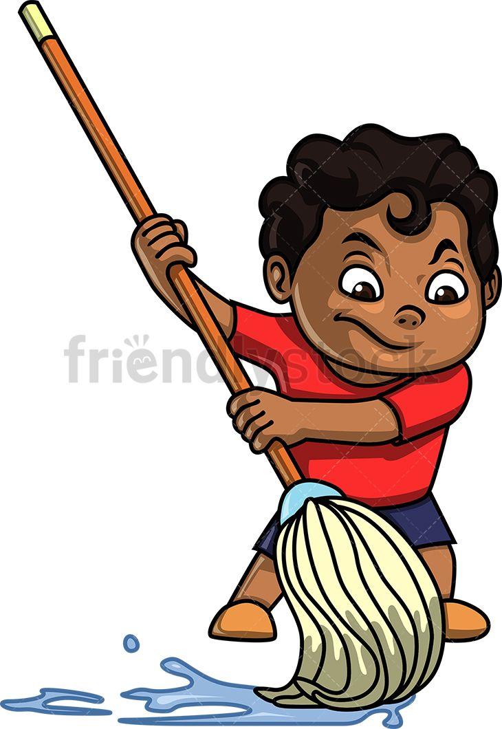 Black Kid Mopping Cartoon Clipart Vector Friendlystock Cartoon Clip Art Cartoon Black Kids