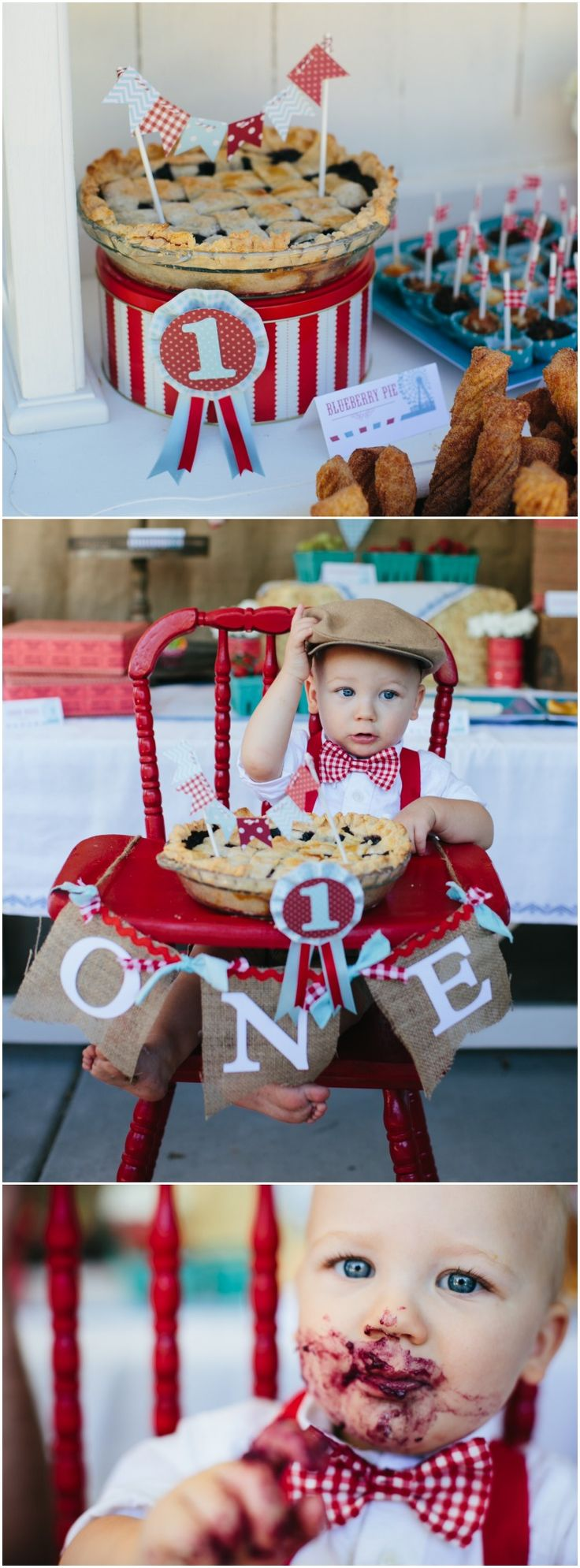 Pie instead of smash cake - cute! www.weheartparties.com