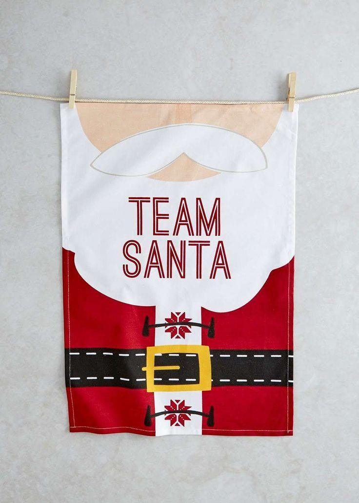 Santa Print Christmas Tea Towel (65cm x 45cm) View 1
