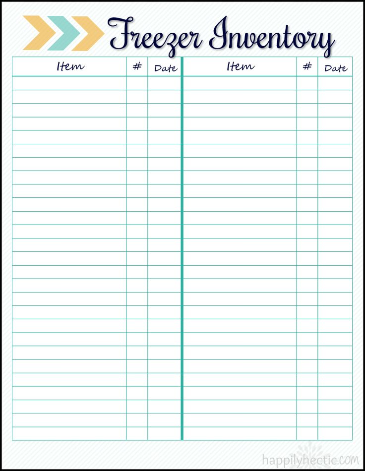 Freezer Inventory- Free Printable!                                                                                                                                                                                 More