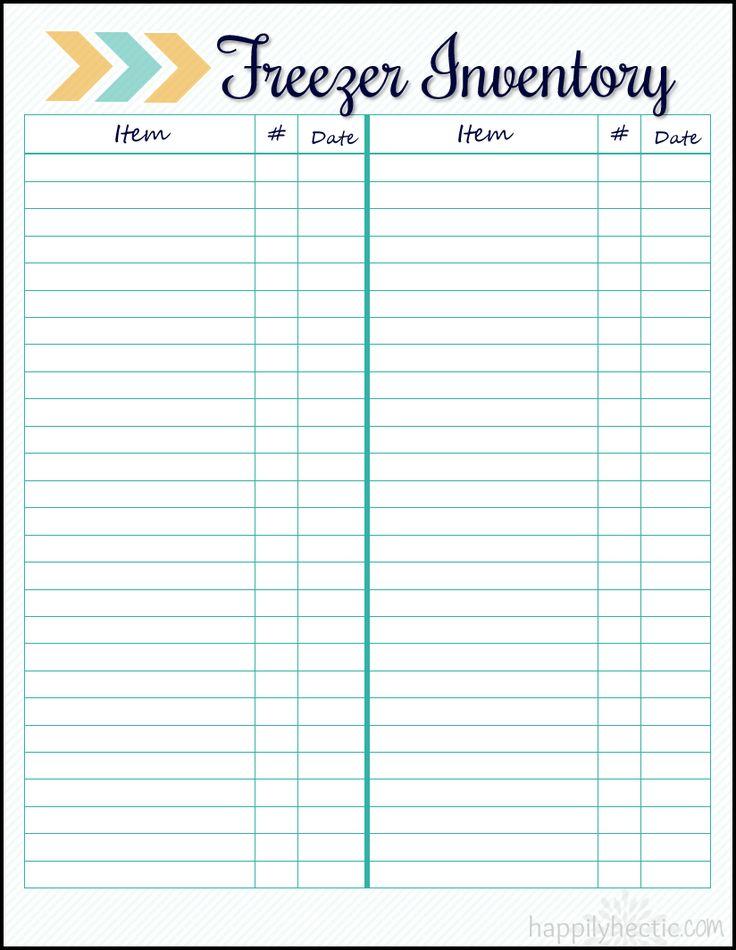 Freezer Inventory- Free Printable!                                                                                                                                                                                 More